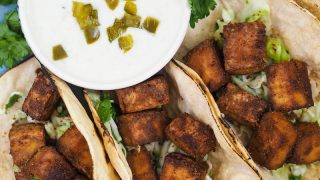 Crispy Baked Tofu Tacos with Cilantro Lime Slaw Recipe