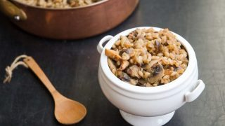 Farro with Leeks, Mushrooms, and Chestnuts