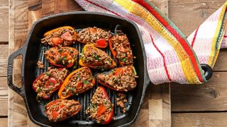 Spanish Stuffed Peppers with Salsa Verde