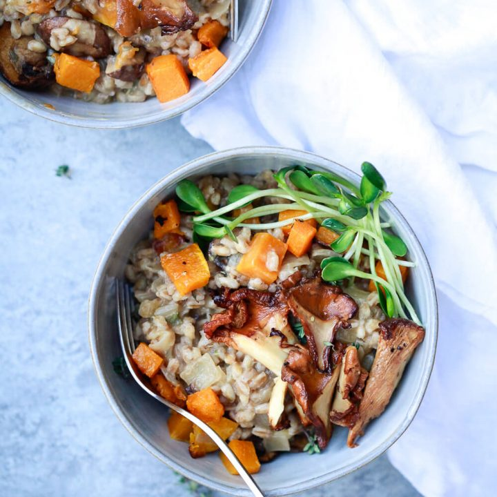 Mushroom Farro Risotto (Farrotto) with Butternut Squash