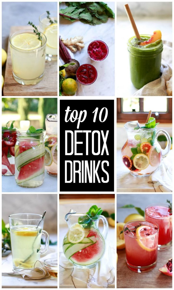 A collage of beautiful and healthy detox drinks. These colorful detox drink recipes are perfect for weight loss and cleansing.