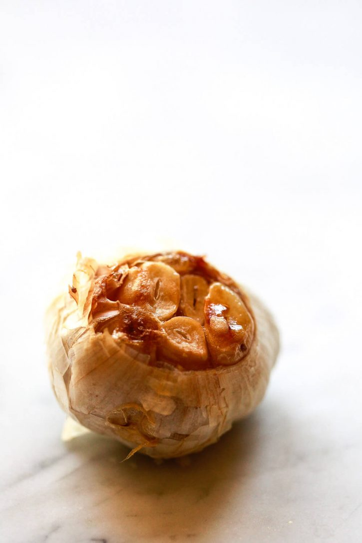A head of roasted garlic.