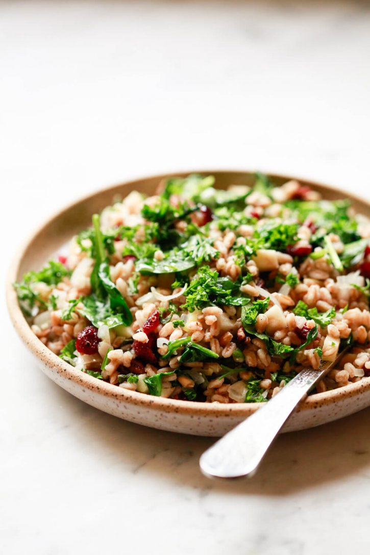 Warm farro grain salad with spinach, cranberries, nuts, and herbs on a speckled ceramic plate.
