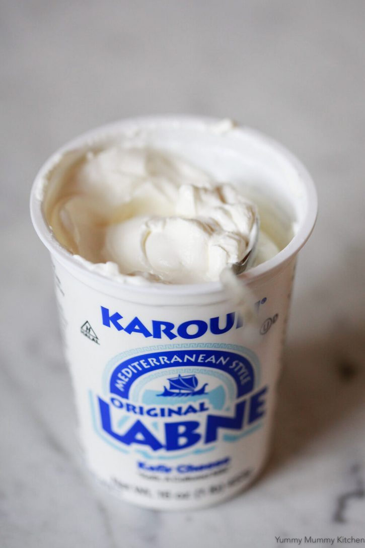 Creamy labneh (labne) yogurt cheese from Whole Foods.