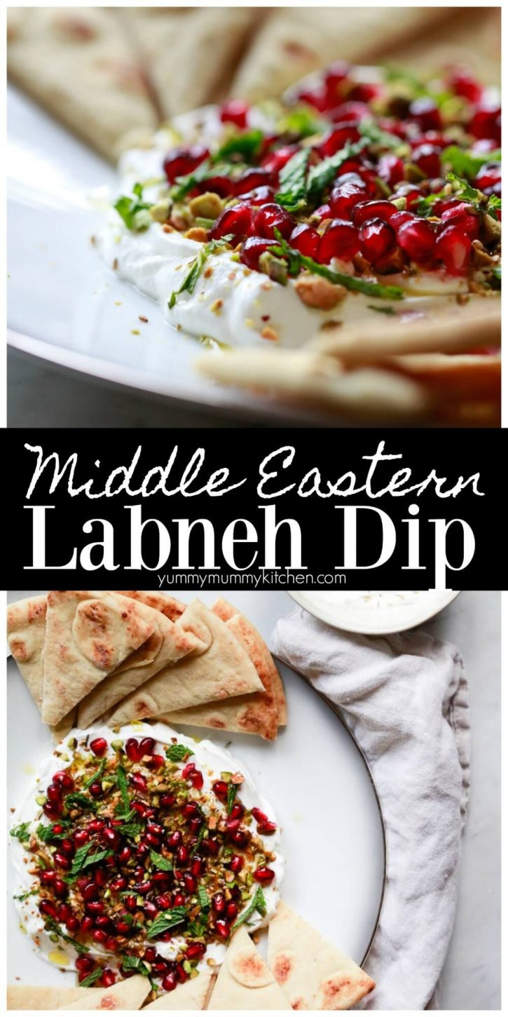Find out how to make labneh, also known as labne, from scratch and turn it into a beautiful Middle Eastern labneh yogurt dip topped with pistachios, za'atar, and pomegranate.