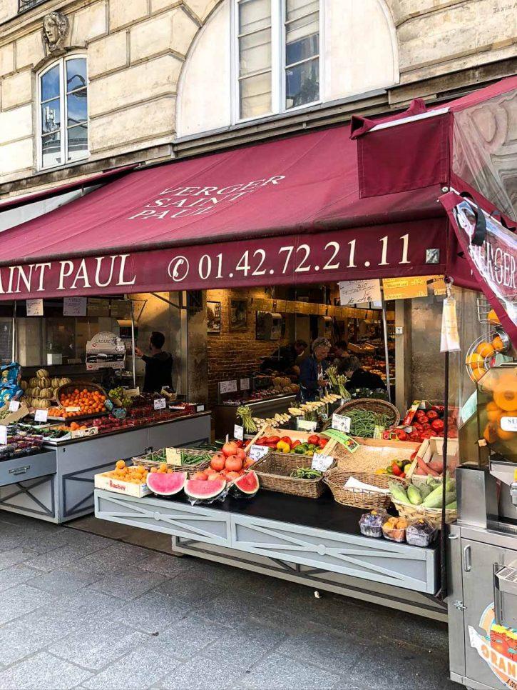 Saint Paul produce stand in le Marais, Paris.