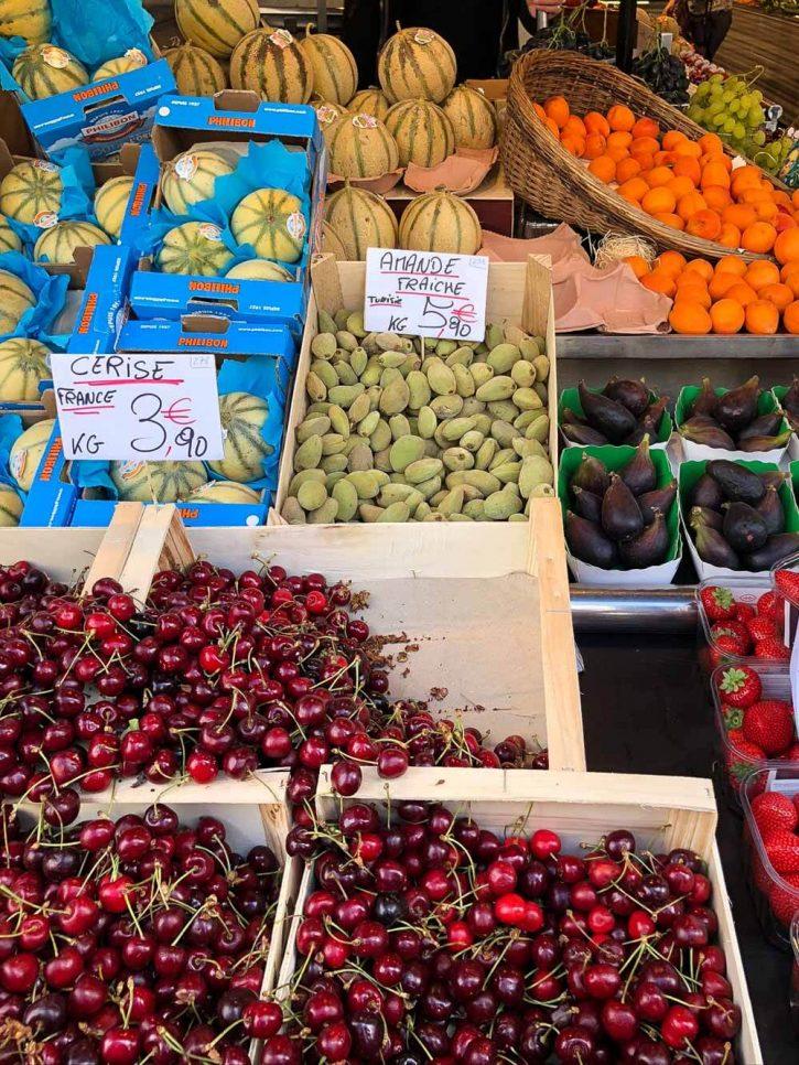 Beautiful fresh fruit shopping in Paris, France.