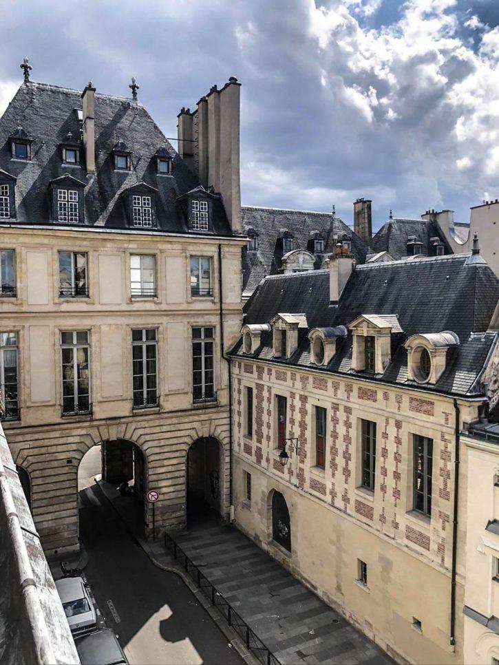 The view from Pavillon de la Reine hotel in le Marais, Paris.
