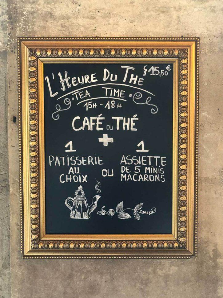 A tea time sign at Carette in place des vosges, in Paris.