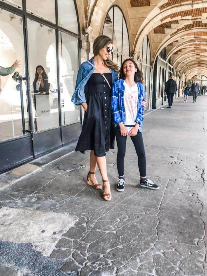 Place des Vosges in le Marais, paris France. Marina Delio and daughter.
