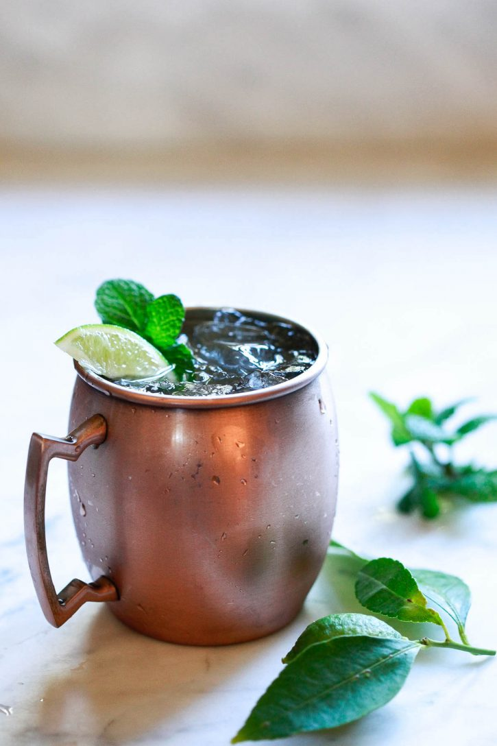 A beautiful copper mug filled with a virgin non alcoholic drink recipe.