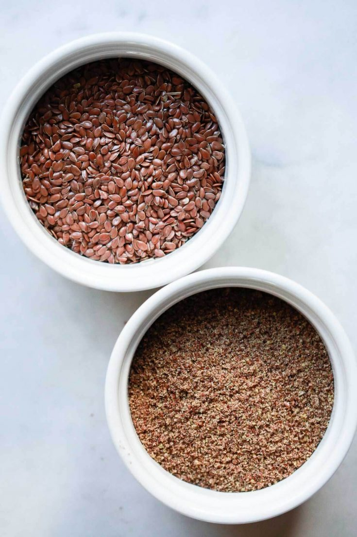 How to make a flax egg substitute for baking cookies, brownies, pancakes, and more. This healthy vegan egg replacer is easy to make with ground flaxseed and water.