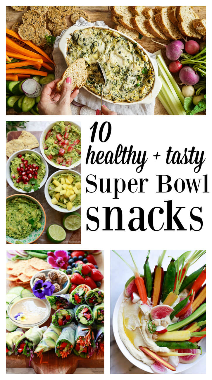A collage of beautiful, healthy superbowl snacks and recipes including vegan spinach artichoke dip, hummus, spring rolls, and guacamole.