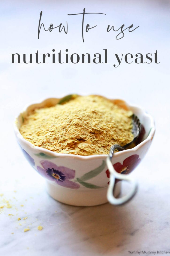 A bowl of nutritional yeast flakes. Find out the answer to what is nutritional yeast, learn nutritional yeast benefits and recipes.