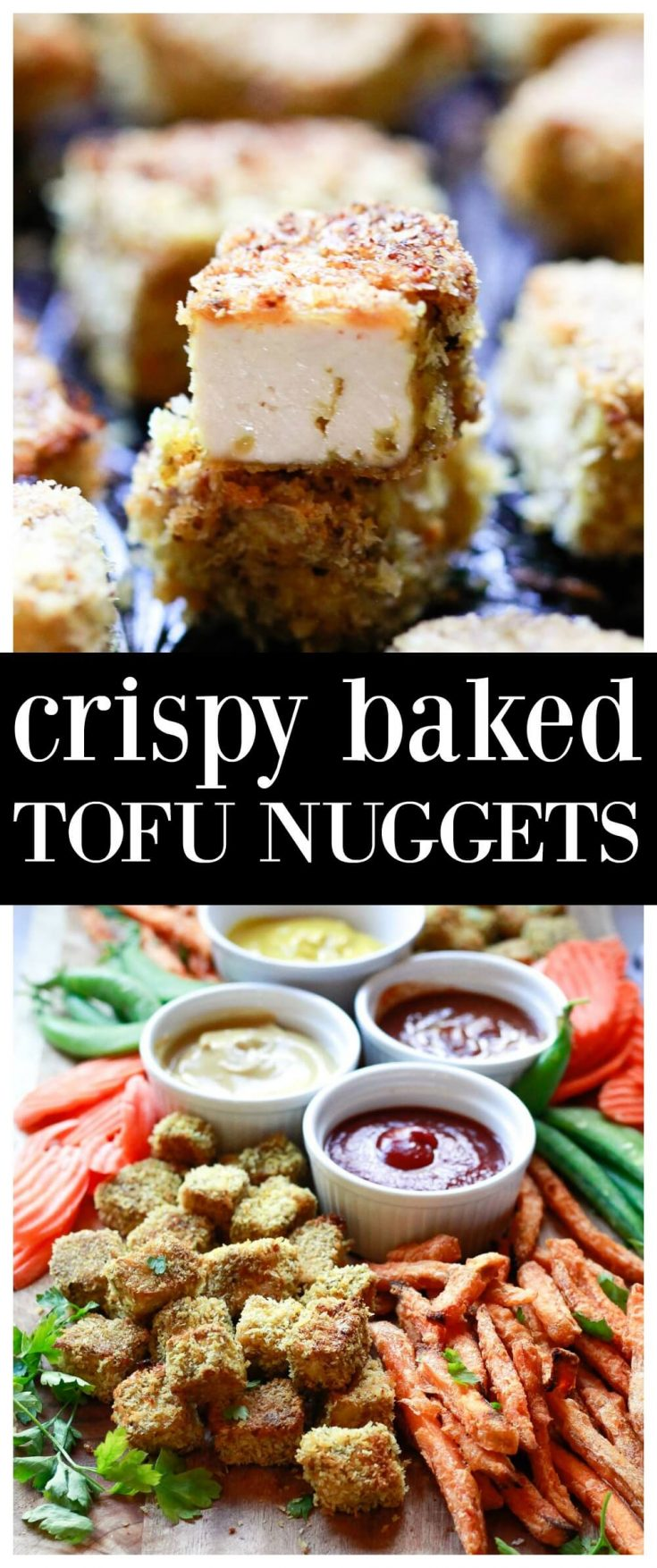 Panko breaded baked tofu nuggets are a favorite tofu recipe for kids (or anyone). These addictive bites are like chicken nuggets, but better! They are vegan, easy to make gluten-free, and high-protein.