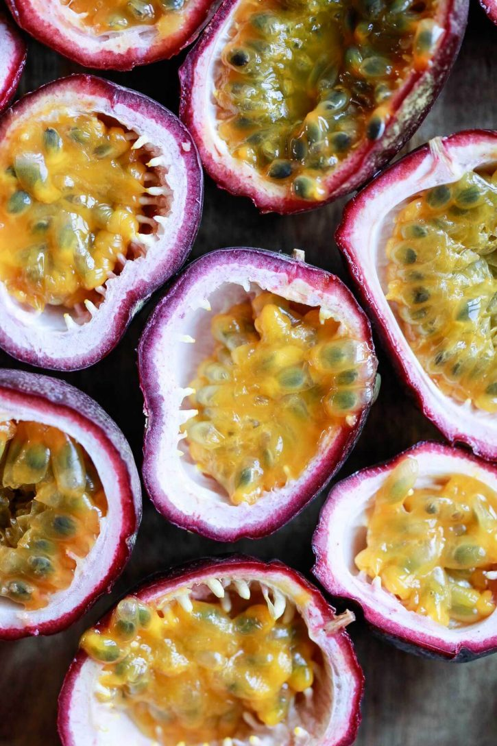A beautiful close-up photo of halved passion fruits.