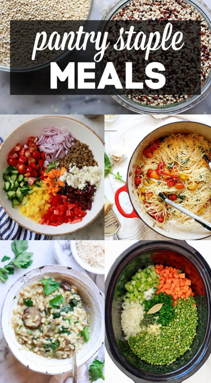 A collage of plant-based, vegetarian, and vegan recipes made with pantry staples like quinoa, rice, beans, and pasta.