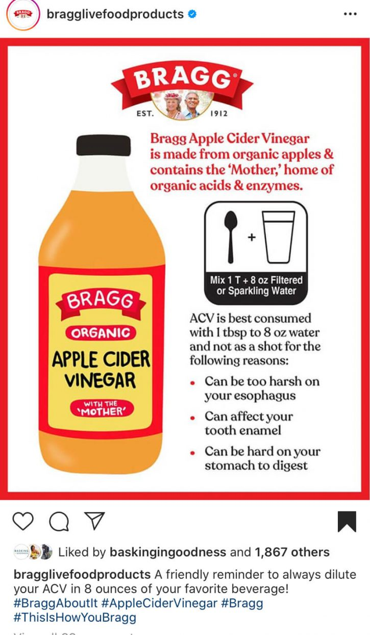 A graphic from Bragg about how to drink apple cider vinegar safely.