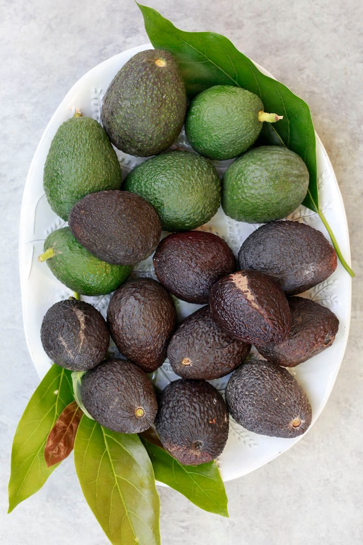 A white oval platter filled with ripe and mature Haas avocados.