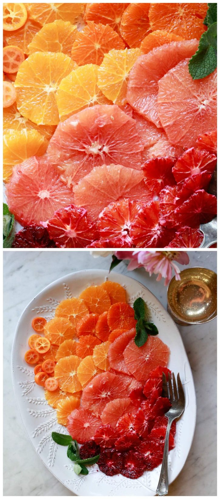 Citrus fruit salad recipe. Orange, blood orange, grapefruit, and kumquat slices arranged in an ombre pattern on an oval serving platter. A beautiful, easy, and healthy brunch or meal prep recipe.