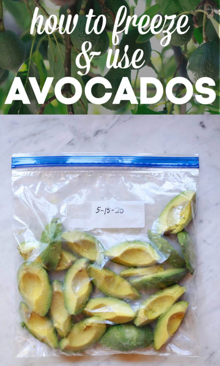 A bag of frozen avocado chunks on a marble kitchen counter.