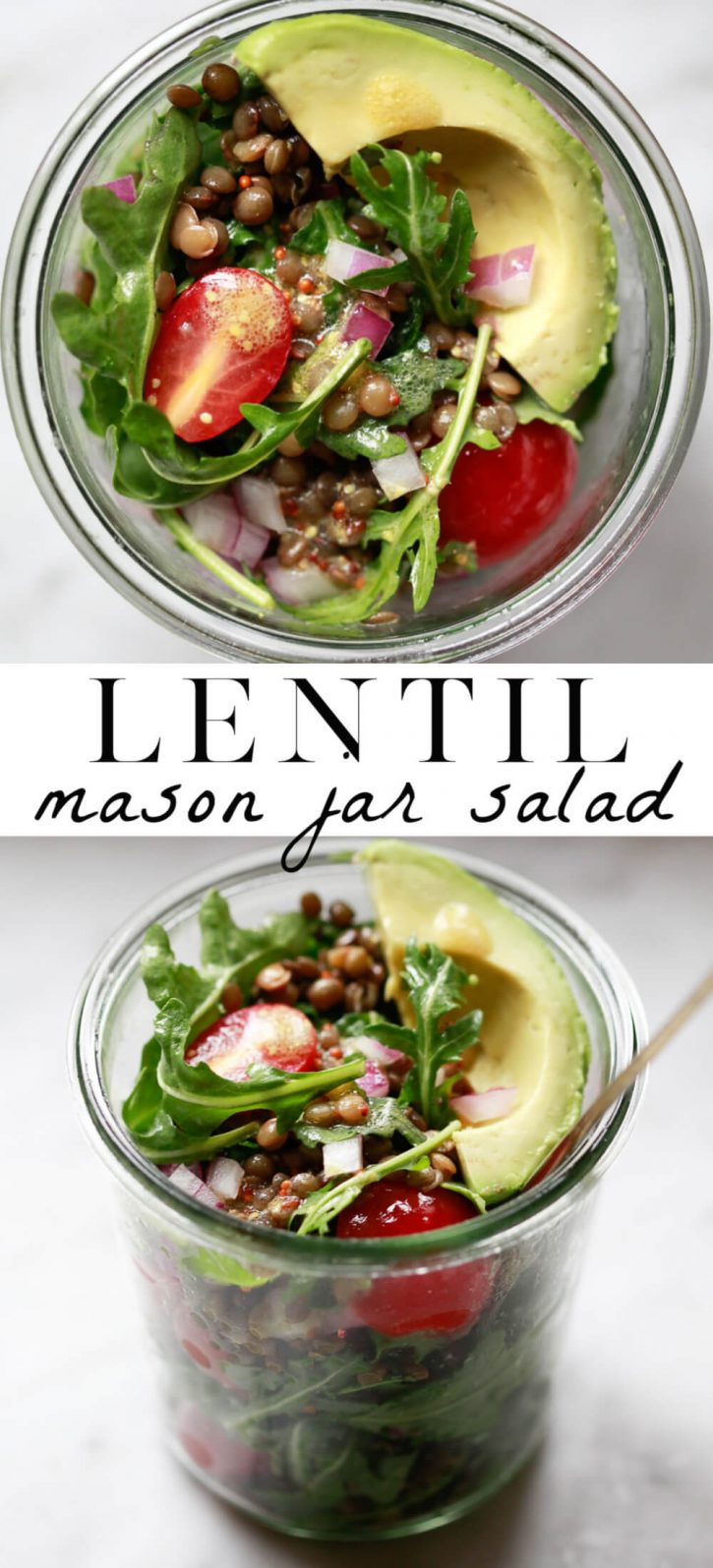 Close-up photography of a cold French lentil salad mixed with arugula, tomatoes, red onion, and a mustard vinaigrette. The Mason jar salad is ready to eat and topped with avocado.