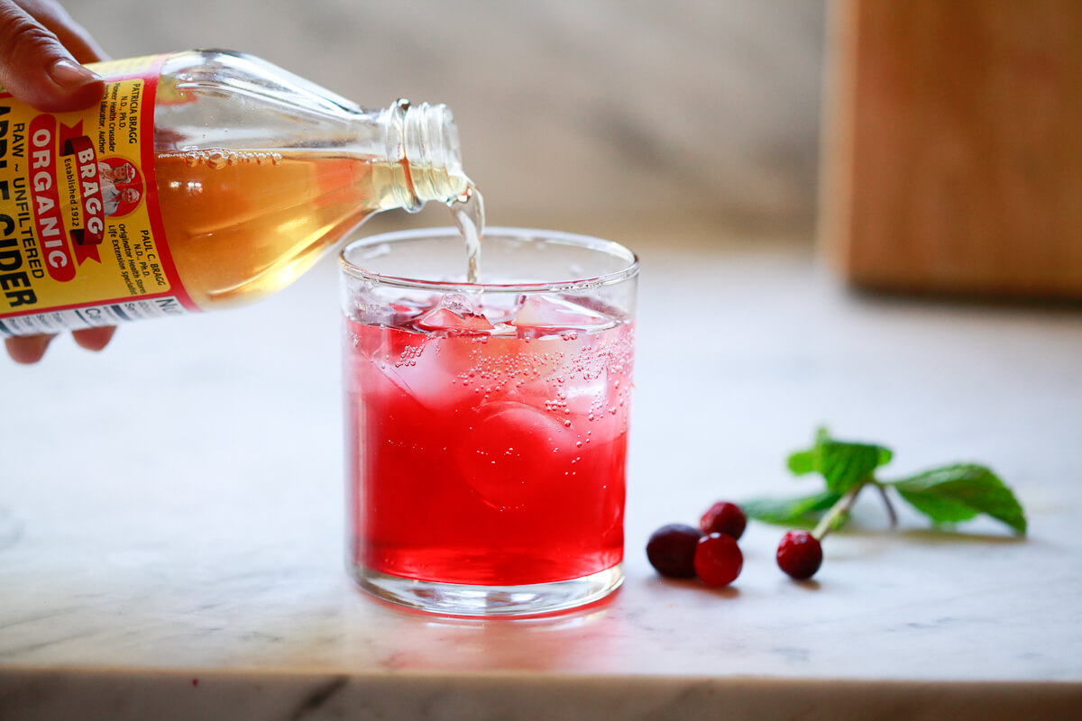 Bragg's apple cider vinegar is added to a detox drink with cranberry juice.
