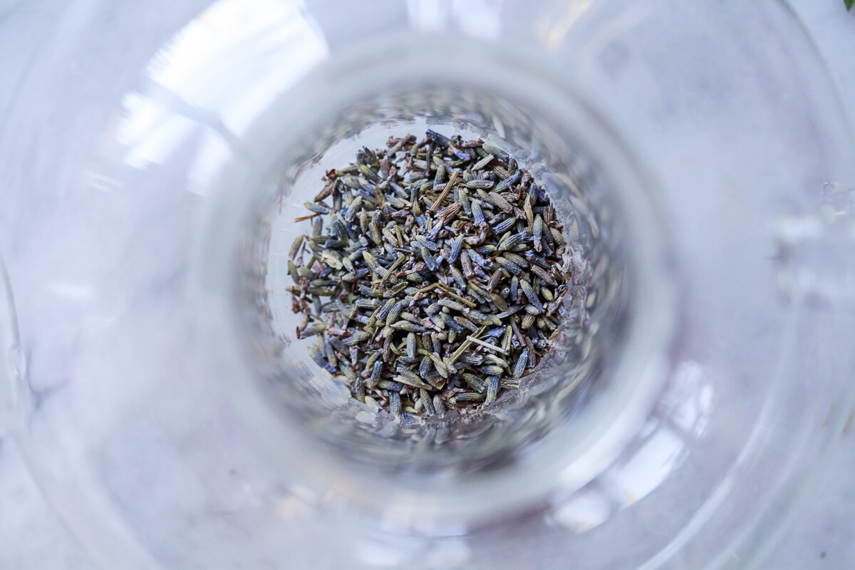 Dried lavender in a loose tea diffuser.
