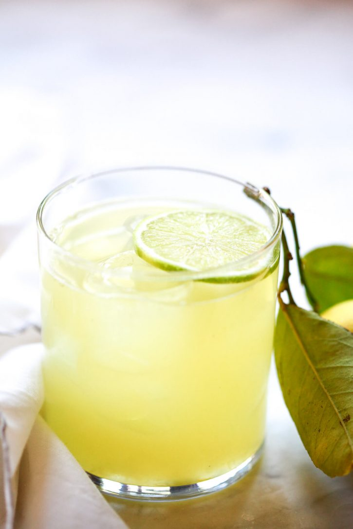 A close up photograph of a fresh margarita made with homemade margarita mix and tequila.