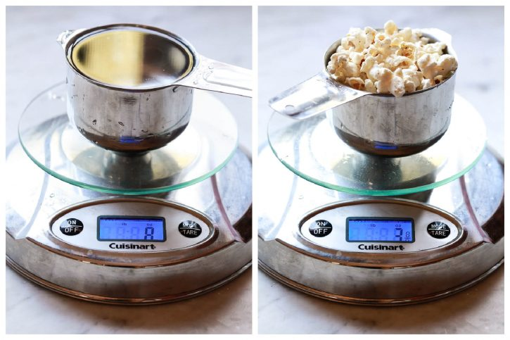 Two side by side images of a measuring cup on a kitchen scale. The first is filled with water and reads 8 oz. The second is filled with popcorn and reads 3 oz. This helps to show that the dry ounces in a cup depends on what is being weighed.