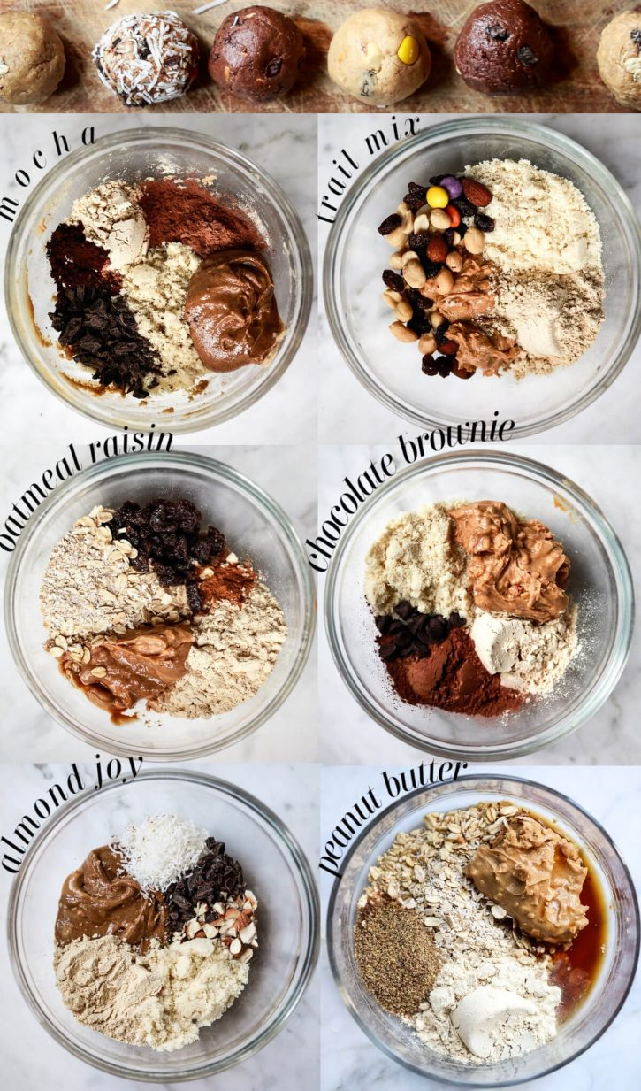 Six bowls filled with the ingredients for no-bake homemade protein balls. Text over each bowl says what flavor is in the bowl: mocha, trail mix, oatmeal raisin, chocolate brownie, almond joy, and peanut butter. Finished power balls can be seen at the top.