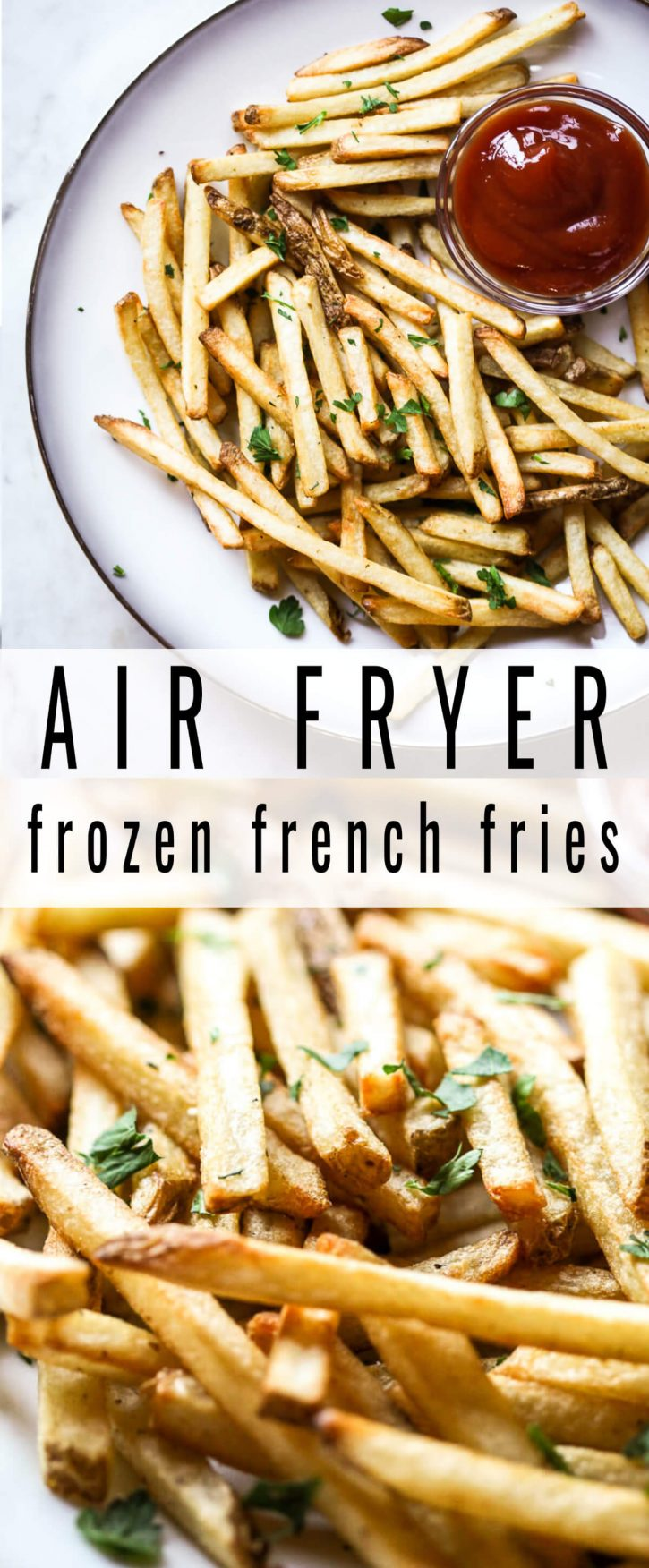 Beautiful photos of crispy golden air fryer frozen french fries on a white plate with ketchup on the side.