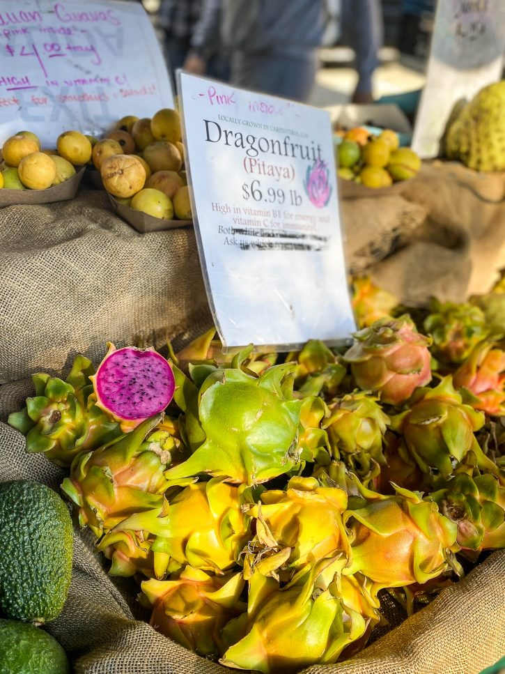 Photograph of an exotic fruit display at the Santa Barbara farmers market featuring dragon fruit.