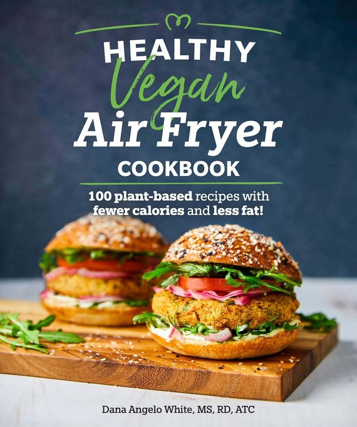 The cover of Healthy Vegan Air Fryer Cookbook which shows two veggie burgers on the front.