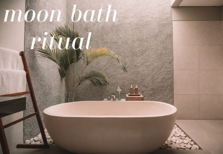"""Photograph of a serene bathtub with text overlay that reads, """"moon bath ritual"""""""