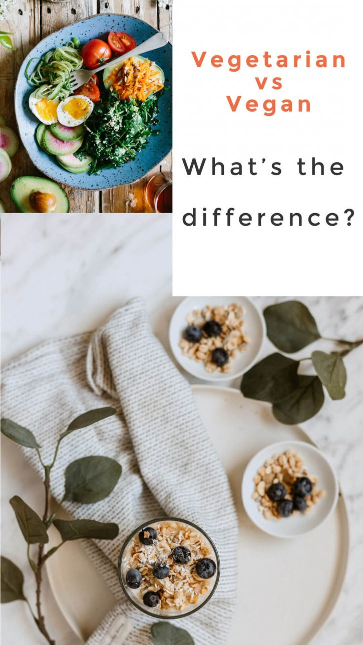 "A photo of a vegetarian bowl next to a vegan oat breakfast with text overlay that reads, ""Vegetarian vs Vegan. What's the difference?"""