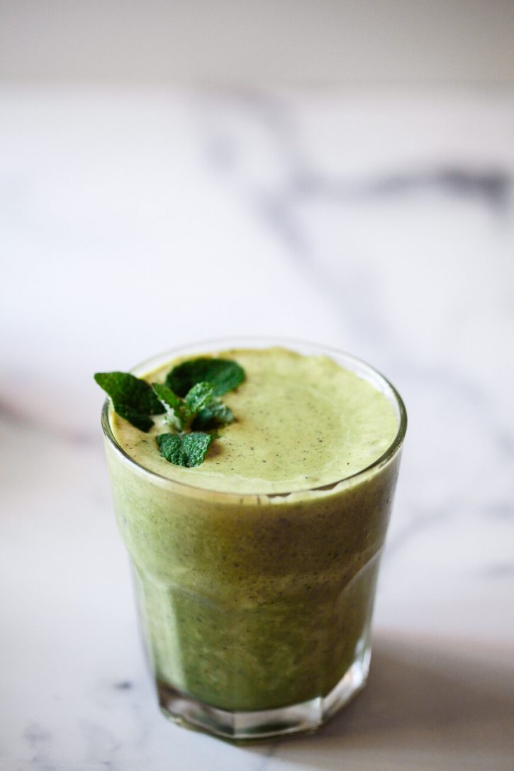 a healthy green protein shake made with fresh mint.