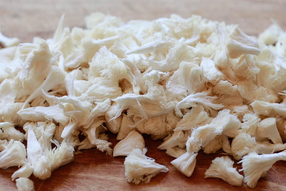 Shredded or pulled lion's mane mushroom.