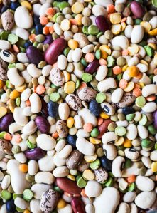 A close-up photo of different types of legumes.