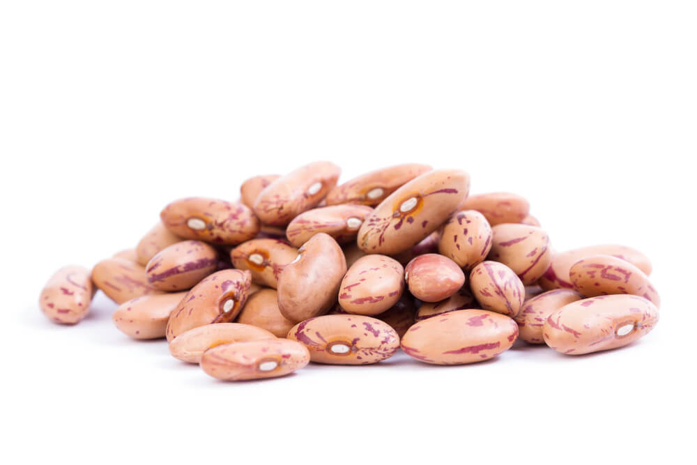Close up photo of pinto beans.