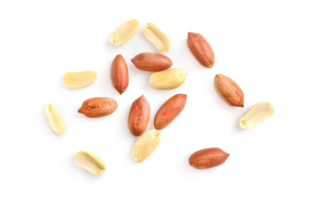 A close up photo of shelled peanuts, which happen to be legumes.