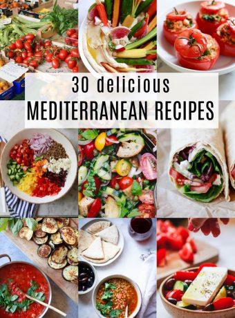A collage of 9 healthy Mediterranean diet recipes.