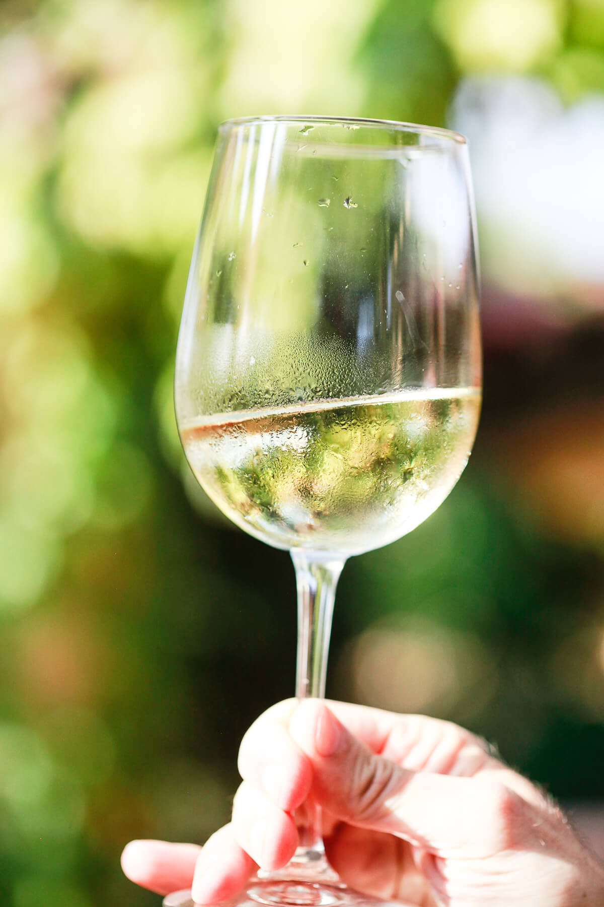 A close-up photo of a glass of natural, organic, keto white wine outside.