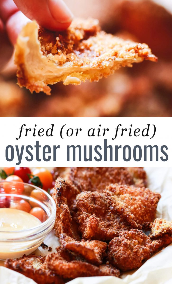 A collage of two photos of fried oyster mushrooms.