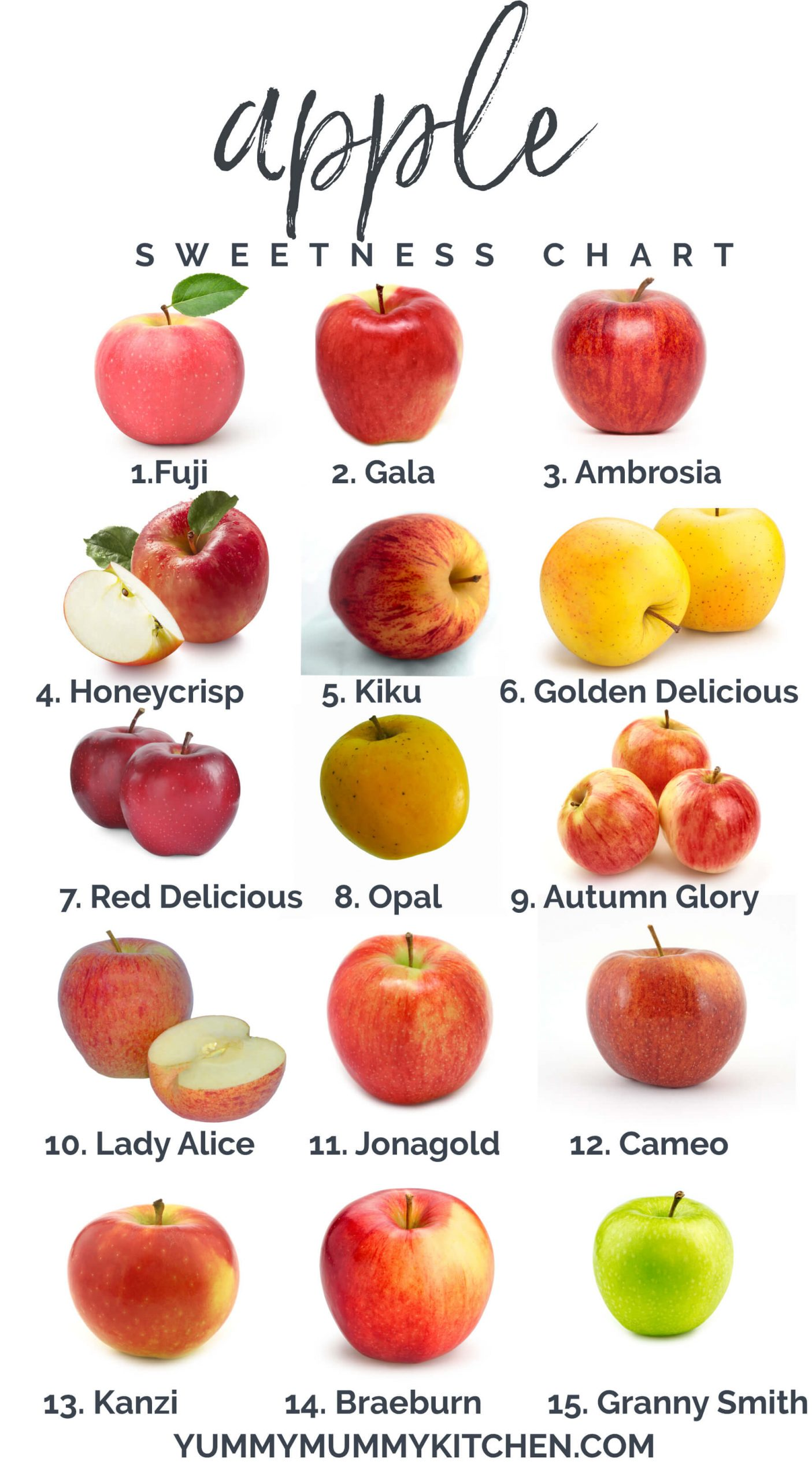 """A graphic made with a 15 different apple images and numbers depicting sweetness. Text at top reads, """"apple sweetness chart""""."""