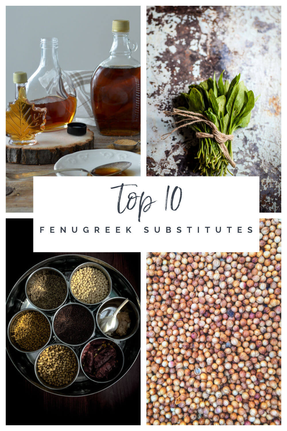 A collage of four ingredients that are the best fenugreek substitutes in cooking: maple syrup, spinach, curry powder spices, and mustard seeds.