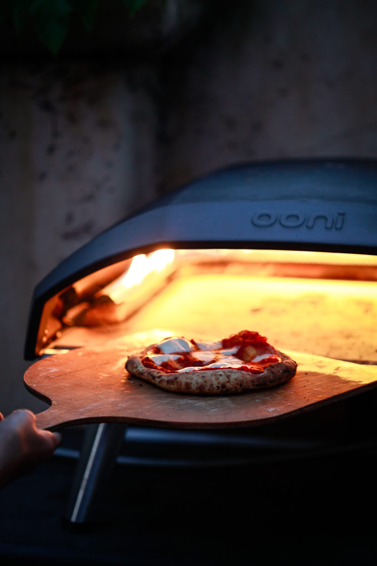 A perfectly cooked margherita pizza comes out of an Ooni Koda 16 pizza oven on a wooden pizza peel.