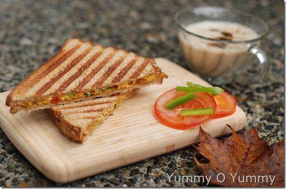 Grilled paneer bhurji sandwich