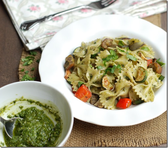 Pasta with roasted vegetables