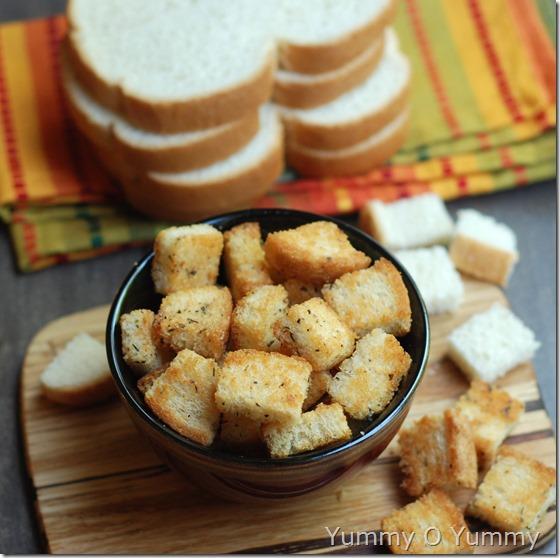 Garlic and parmesan croutons